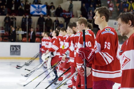 spartak: MOSCOW - JANUARY 15: Spartak team just before hockey game Spartak vs Admiral on Russian KHL premier hockey league Championship on January 15, 2016, in Moscow, Russia. Spartak won 5:4