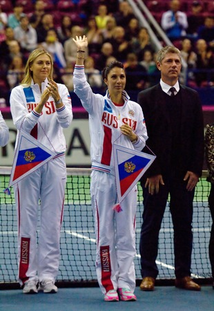 are fed: MOSCOW, RUSSIA - FEBRUARY 2, 2016: Anastasia Myskina, coach of Russia team on tennis Fed Cup - 2016 in sports competition sport palace, Moscow, Russia