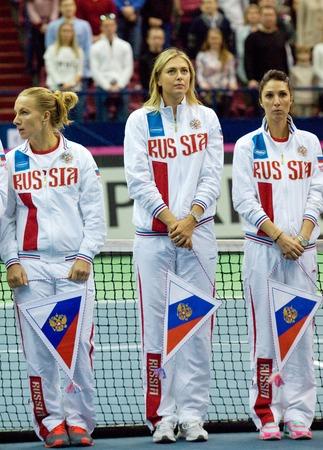 are fed: MOSCOW, RUSSIA - FEBRUARY 2, 2016: Sharapova, S. Kuznetsova, E. A. Myskina on tennis Fed Cup - 2016 in Olympic sport palace, Moscow, Russia