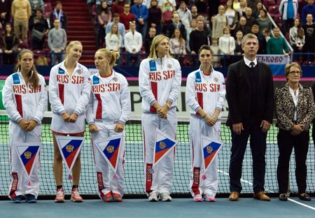 cup of russia: MOSCOW, RUSSIA - FEBRUARY 2, 2016: Russia tennis team just before tennis Fed Cup - 2016 in Olympic sport palace, Moscow, Russia