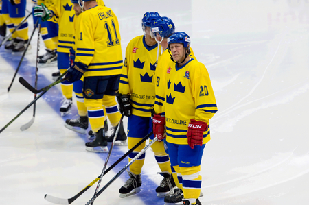 willy: MOSCOW - JANUARY 29, 2016: Willy Lindstrom (20) just before a hockey game Sweden vs Czech on League of World legends of Ice hockey championship in VTB ice arena, Russia. Czech won 8:2 Editorial