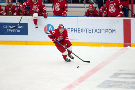 ice arena: PODOLSK - NOVEMBER 21, 2015: M. Afinogenov (61) in action during hockey game Vityaz vs Torpedo on Russia KHL championship in Vutyaz ice arena, Podolsk, Russia. Torpedo won 4:3 Editorial