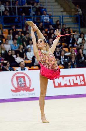 dora: MOSCOW, RUSSIA - FEBRUARY 20, 2016: Dora Vass, Hungary on Rhythmic gymnastics Alina Cup Grand Prix Moscow - 2016 on February 20, 2016, in Moscow, Russia