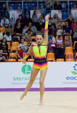 cup of russia: MOSCOW, RUSSIA - FEBRUARY 20, 2016: Veronika Pronchenko, Lithuania, on Rhythmic gymnastics Alina Cup Grand Prix Moscow - in 2016 on February 20, 2016, in Moscow, Russia