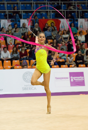 cup of russia: MOSCOW, RUSSIA - FEBRUARY 20, 2016: Zhala Piriyeva, Azerbaijan, on Rhythmic gymnastics Alina Cup Grand Prix Moscow - in 2016 on February 20, 2016, in Moscow, Russia Editorial