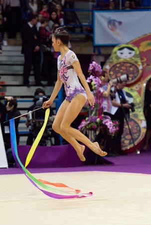 ashram: MOSCOW, RUSSIA - FEBRUARY 20, 2016: Ashram Linoy, Israel, on Rhythmic gymnastics Alina Cup Grand Prix Moscow - 2016 on February 20, 2016, in Moscow, Russia Editorial