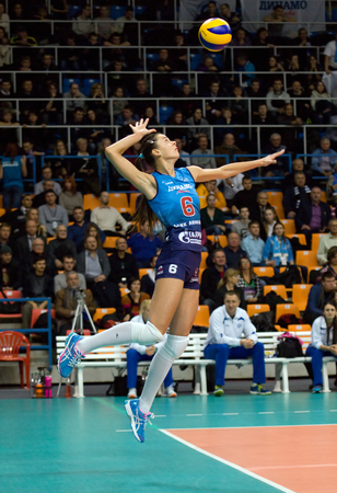 dynamo: MOSCOW - DECEMBER 2: Yana Shcherban (6) pitch on a game Dynamo MSK vs Dynamo KZN on Russian National wemen Volleyball tournament on December 2, in Moscow, Russia, 2015