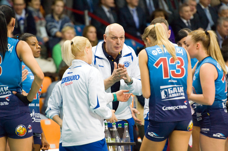 dynamo: MOSCOW - DECEMBER 2: Yuriy Panchenko, head coach of Dynamo Moscow team on timeout on a game Dynamo MSK vs Dynamo KZN on Russian National wemen Volleyball tournament on December 2, in Moscow, Russia, 2015 Editorial