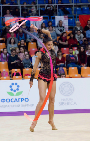 cup of russia: MOSCOW, RUSSIA - FEBRUARY 20, 2016: Dora Vass, Hungary on Rhythmic gymnastics Alina Cup Grand Prix Moscow - 2016 on February 20, 2016, in Moscow, Russia