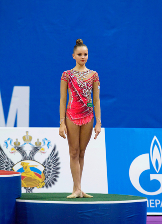 medalist: MOSCOW, RUSSIA - FEBRUARY 20, 2016: Arina Averina, bronze medalist of Rhythmic gymnastics Alina Cup Grand Prix Moscow - 2016 on February 20, 2016, in Moscow, Russia