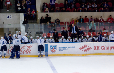spartak: MOSCOW - JANUARY 15: Unidentified players of Admiral team on timeout during hockey game Spartak vs Admiral on Russian KHL premier hockey league Championship on January 15, 2016, in Moscow, Russia. Spartak won 5:4