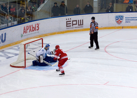 spartak: MOSCOW - JANUARY 15: Gleb Klimenko (83) score during hockey game Spartak vs Admiral on Russian KHL premier hockey league Championship on January 15, 2016, in Moscow, Russia. Spartak won 5:4