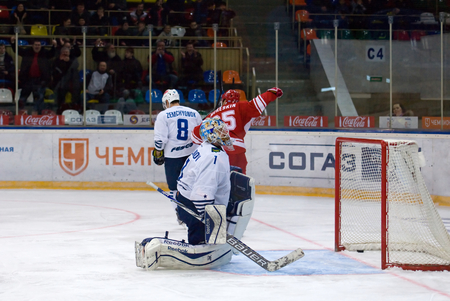 spartak: MOSCOW - JANUARY 15: A. Mereskin (25) score during hockey game Spartak vs Admiral on Russian KHL premier hockey league Championship on January 15, 2016, in Moscow, Russia. Spartak won 5:4