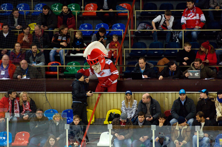 spartak: MOSCOW - JANUARY 15: Mascot of Spartak team on tribune during hockey game Spartak vs Admiral on Russian KHL premier hockey league Championship on January 15, 2016, in Moscow, Russia. Spartak won 5:4 Editorial