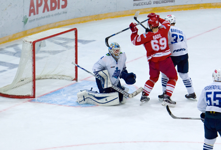 spartak: MOSCOW - JANUARY 15: Lukas Radil (69) score during hockey game Spartak vs Admiral on Russian KHL premier hockey league Championship on January 15, 2016, in Moscow, Russia. Spartak won 5:4