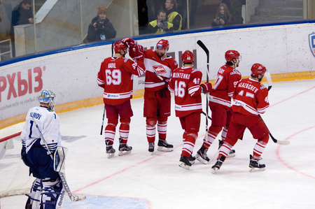 spartak: MOSCOW - JANUARY 15: I. Nalimov (1) miss a goal and dissapointed during hockey game Spartak vs Admiral on Russian KHL premier hockey league Championship on January 15, 2016, in Moscow, Russia. Spartak won 5:4 Editorial
