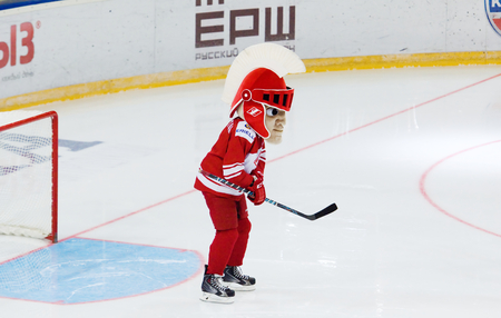 spartak: MOSCOW - JANUARY 15: Mascot of the Spartak team on the gate just before hockey game Spartak vs Admiral on Russian KHL premier hockey league Championship on January 15, 2016, in Moscow, Russia. Spartak won 5:4