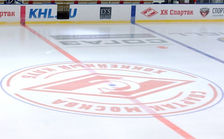 spartak: MOSCOW - JANUARY 15: Spartak team emblem on ice before hockey game Spartak vs Admiral on Russian KHL premier hockey league Championship on January 15, 2016, in Moscow, Russia. Spartak won 5:4