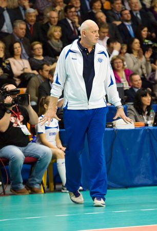MOSCOW - DECEMBER 2: Yuriy Panchenko, head coach of Dinamo Moscow team on a game Dynamo MSK vs Dynamo KZN on Russian National wemen Volleyball tournament on December 2, in Moscow, Russia, 2015