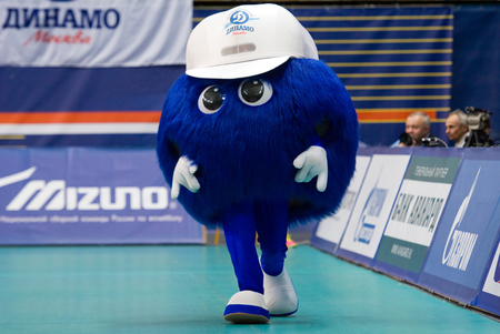 dynamo: MOSCOW - DECEMBER 2: Mascot of Dynamo Moscow team walking on a game Dynamo MSK vs Dynamo KZN on Russian National wemen Volleyball tournament on December 2, in Moscow, Russia, 2015