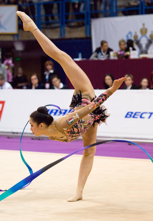 cup of russia: MOSCOW, RUSSIA - FEBRUARY 20, 2016: Maria Karmen Crescenzi, Italy, ribbon, on Rhythmic gymnastics Alina Cup Grand Prix Moscow - 2016 on February 20, 2016, in Moscow, Russia