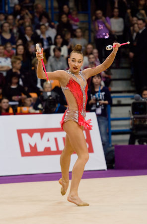 cup of russia: MOSCOW, RUSSIA - FEBRUARY 20, 2016: Patricia Bezzoubenko, Canada, clubs, on Rhythmic gymnastics Alina Cup Grand Prix Moscow - 2016 on February 20, 2016, in Moscow, Russia Editorial
