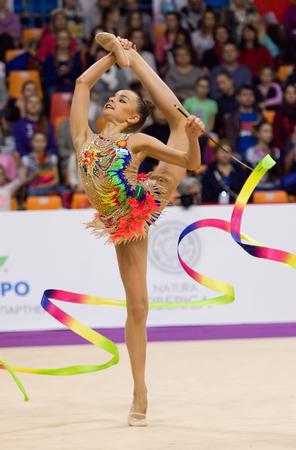 MOSCOW, RUSSIA - FEBRUARY 20, 2016: Arina Averina, Russia, clubs, on Rhythmic gymnastics Alina Cup Grand Prix Moscow - 2016 on February 20, 2016, in Moscow, Russia Editorial