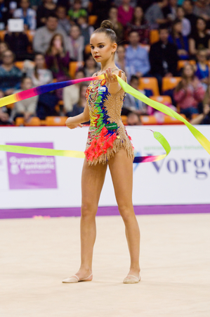 cup of russia: MOSCOW, RUSSIA - FEBRUARY 20, 2016: Arina Averina, Russia, clubs, on Rhythmic gymnastics Alina Cup Grand Prix Moscow - 2016 on February 20, 2016, in Moscow, Russia Editorial