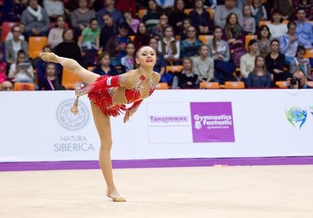 MOSCOW, RUSSIA - FEBRUARY 20, 2016: Anna Luiza Filiorianu, Romania, clubs, on Rhythmic gymnastics Alina Cup Grand Prix Moscow - 2016 on February 20, 2016, in Moscow, Russia