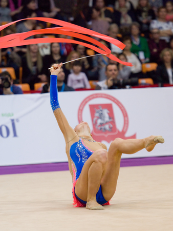 cup of russia: MOSCOW, RUSSIA - FEBRUARY 20, 2016: Anna Sebkova, Czech Republic, ribbon, on Rhythmic gymnastics Alina Cup Grand Prix Moscow - 2016 on February 20, 2016, in Moscow, Russia Editorial