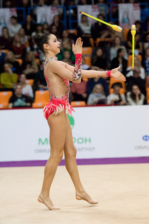 cup of russia: MOSCOW, RUSSIA - FEBRUARY 20, 2016: Julia Postushco, Moldova, clubs, on Rhythmic gymnastics Alina Cup Grand Prix Moscow - 2016 on February 20, 2016, in Moscow, Russia