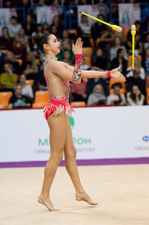 MOSCOW, RUSSIA - FEBRUARY 20, 2016: Julia Postushco, Moldova, clubs, on Rhythmic gymnastics Alina Cup Grand Prix Moscow - 2016 on February 20, 2016, in Moscow, Russia