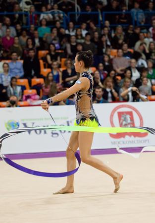 MOSCOW, RUSSIA - FEBRUARY 20, 2016: Ashram Linoy, Israel, ribbon, on Rhythmic gymnastics Alina Cup Grand Prix Moscow - 2016 on February 20, 2016, in Moscow, Russia