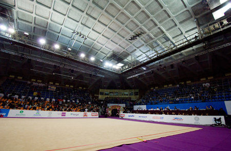 interrior: MOSCOW, RUSSIA - FEBRUARY 20, 2016: Interrior of sport arena Druzhba just before Rhythmic gymnastics Alina Cup Grand Prix Moscow - 2016 on February 20, 2016, in Moscow, Russia
