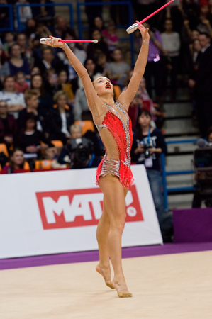 MOSCOW, RUSSIA - FEBRUARY 20, 2016: Patricia Bezzoubenko, Canada, clubs, on Rhythmic gymnastics Alina Cup Grand Prix Moscow - 2016 on February 20, 2016, in Moscow, Russia Editorial