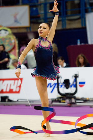 cup of russia: MOSCOW, RUSSIA - FEBRUARY 20, 2016: Svetlana Rudenko, Kyrgyzstan, ribbon, on Rhythmic gymnastics Alina Cup Grand Prix Moscow - 2016 on February 20, 2016, in Moscow, Russia