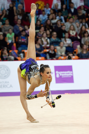 MOSCOW, RUSSIA - FEBRUARY 20, 2016: Ashram Linoy, Israel, on Rhythmic gymnastics Alina Cup Grand Prix Moscow - 2016 on February 20, 2016, in Moscow, Russia Editorial