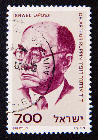 founders: MOSCOW RUSSIA - NOVEMBER 25, 2012: An Israel circa shows Zionist thinker and leader, one of the founders of the city of Tel Aviv, Arthur Ruppin (1876 -1943); series, circa 1979