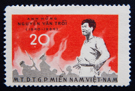 MOSCOW RUSSIA - NOVEMBER 25, 2012: A stamp printed in Vietnam shows a portrait of Nguyen Van Troy. Circa 1964