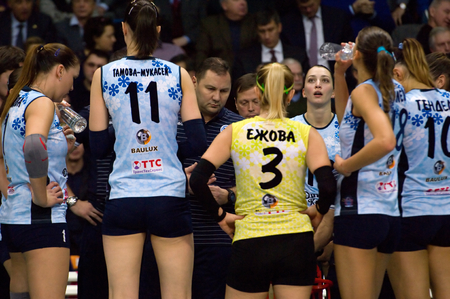timeout: MOSCOW - DECEMBER 2: Unidentified players of Dynamo Kazan team on timeout on game Dynamo MSK vs Dynamo KZN on Russian National wemen Volleyball tournament  in Moscow, Russia, 2015 Editorial