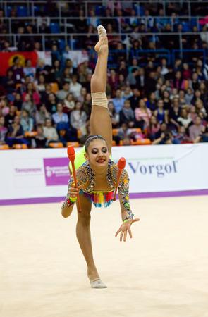 MOSCOW, RUSSIA - FEBRUARY 20, 2016: Zhala Piriyeva, clubs, Azerbaijan, on Rhythmic gymnastics Alina Cup Grand Prix Moscow - 2016 on February 20, 2016, in Moscow, Russia