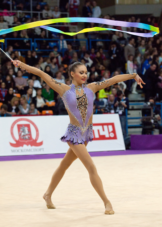 MOSCOW, RUSSIA - FEBRUARY 20, 2016: Anna Luiza Filiorianu, Romania, on Rhythmic gymnastics Alina Cup Grand Prix Moscow - 2016 on February 20, 2016, in Moscow, Russia