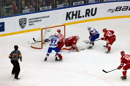 gusev: PODOLSK, RUSSIA - NOVEMBER 30, 2016: Harri Sateri (29) stop a puck on hockey game Vityaz vs SKA on Russia KHL championship on November 11, 2016, in Podolsk, Russia. SKA won 4:0 Editorial
