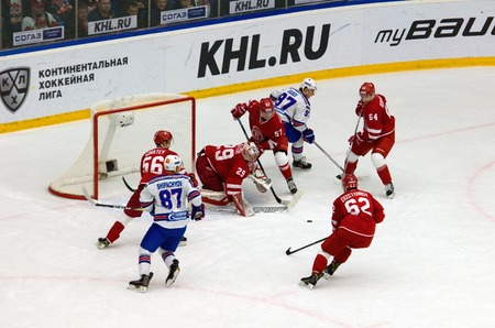 gusev: PODOLSK, RUSSIA - NOVEMBER 30, 2016: Harri Sateri (29) save the gate on hockey game Vityaz vs SKA on Russia KHL championship on November 11, 2016, in Podolsk, Russia. SKA won 4:0