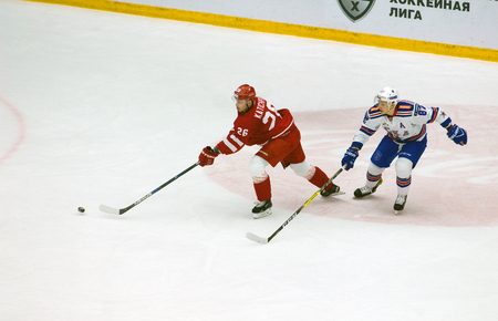 PODOLSK, RUSSIA - NOVEMBER 30, 2016: V. Shipachyov (87) vs E. Katichev (26) on hockey game Vityaz vs SKA on Russia KHL championship on November 11, 2016, in Podolsk, Russia. SKA won 4:0 Editorial