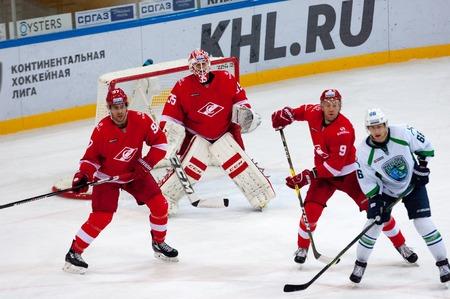 MOSCOW, RUSSIA - SEPTEMBER 27, 2016: P. Varfolomeev (66) vs A. Bondarev (9) on hockey game Spartak vs Ugra on Russia KHL championship on September 27, 2016, in Moscow, Russia. Ugra won 3:2 Editorial