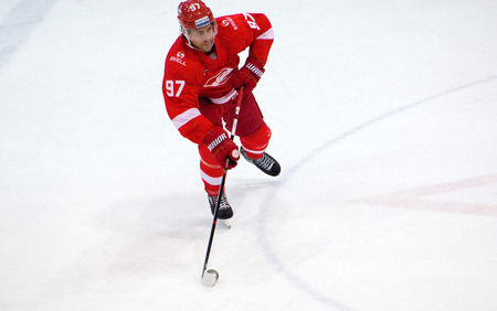 MOSCOW, RUSSIA - SEPTEMBER 27, 2016: Matt Gilroy (97) in action during hockey game Spartak vs Ugra on Russia KHL championship on September 27, 2016, in Moscow, Russia. Ugra won 3:2