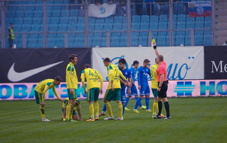 cup of russia: MOSCOW, RUSSIA - OCTOBER 8, 2016: Unidentified referee yellow card on Football Cup of Russia game FC Dynamo Moscow vs FC Kuban Krasnodar (1:0), October 8, 2016