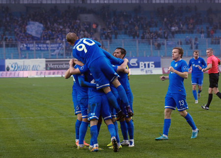 kuban: MOSCOW, RUSSIA - OCTOBER 8, 2016: Unidentified players rejoice of a score on Football Cup of Russia game FC Dynamo Moscow vs FC Kuban Krasnodar (1:0), October 8, 2016