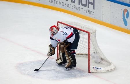 MOSCOW, RUSSIA - OCTOBER 12, 2016: Goaltender Barry Brust (33) on hockey game Dynamo Moscow vs Slovan Bratislava on Russia KHL championship. Slovan won 5:3